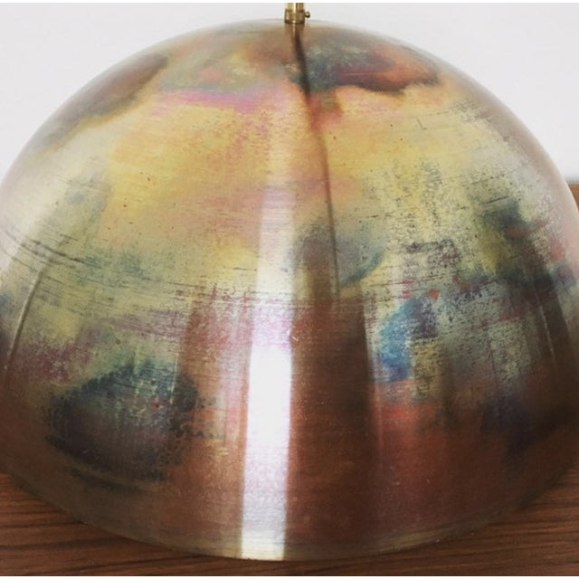 Mid-Century Modern Patinated Copper Dome Pendant Lamp by Beisl For Sale In Los Angeles - Image 6 of 9