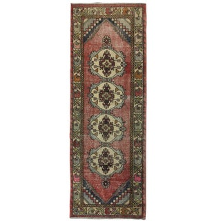 Vintage Oushak Carpet Runner in Faded Reds and Blues | 3 X 9 For Sale