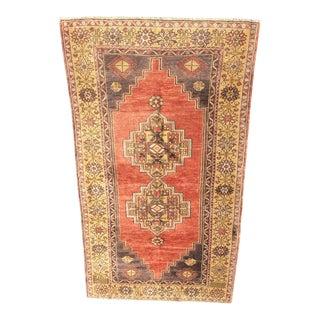 "Vintage Turkish Oushak Rug - 3'8"" x 7'"