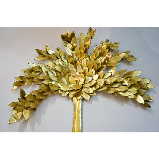 Artisan House Golden Colored Wall Sculpture of a Tree by Curtis Jere, Artisan House For Sale - Image 4 of 6