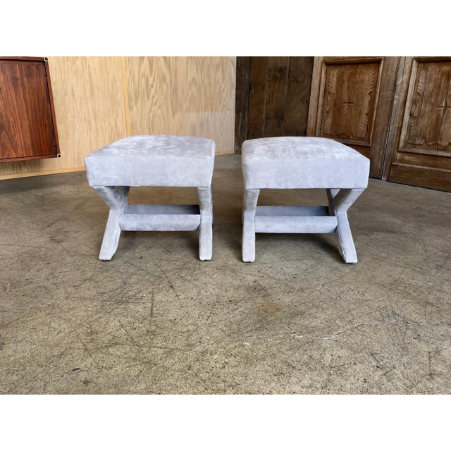 """Mid-Century Modern """"X"""" Base Billy Baldwin Style Benches - a Pair For Sale - Image 9 of 10"""
