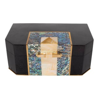 Blacktab Shell Box with Kabibi and Tahiti Shell Inlays with Brass Trims