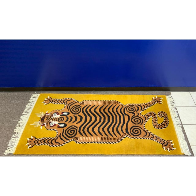 Silk Hand Knotted Tibetan Tiger Rug For Sale - Image 7 of 9