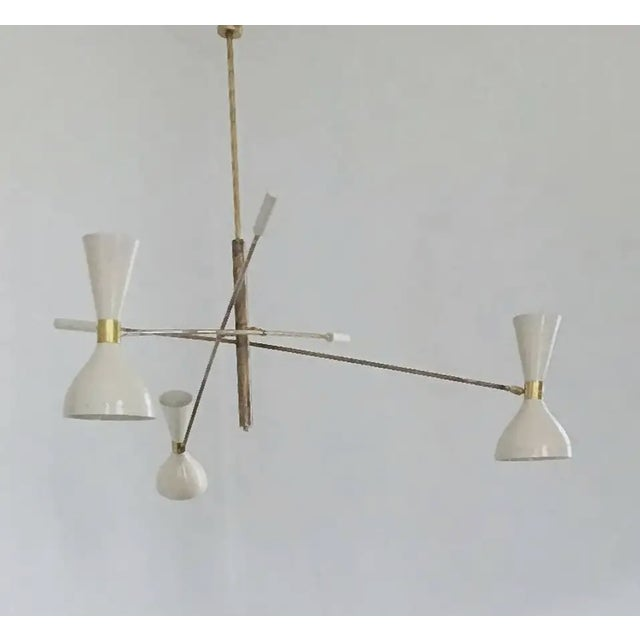 Metal 'Triennale' Style Adjustable Three-Arm Chandelier For Sale - Image 7 of 8