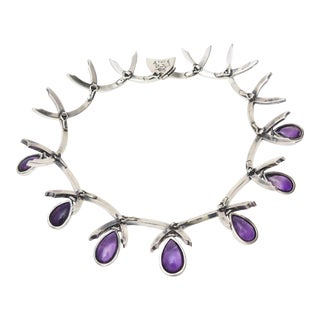Antonio Pineda Sterling Silver and Amethyst Sculptural Signed Collar Necklace Vintage For Sale
