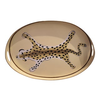 Dana Gibson Oval Leopard Tray For Sale