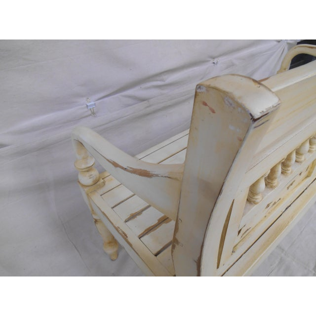 Late 20th Century Painted and Distressed French Country Garden Bench For Sale - Image 12 of 13