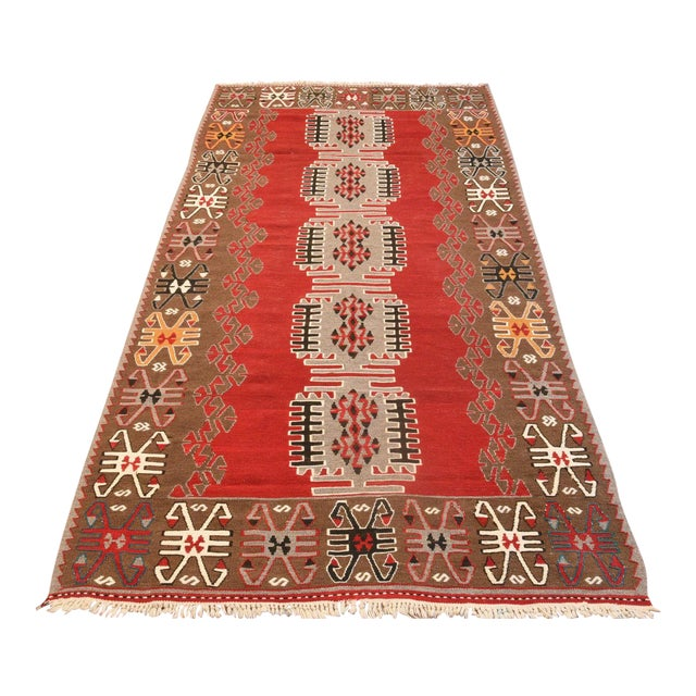 9x4 Ft Antique Turkish Traditional Kilim Rug Oushak Geometric Design Red Color Kilim Oriental Tribal Wool Kilim Rug For Sale