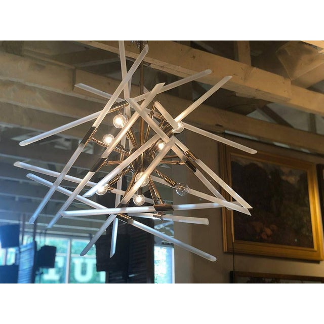 "New Contemporary Frosted Glass Rods and Brass Sputnik Center Chandelier 36"" Wide x 30"" High - Another 30"" Drop Rod..."