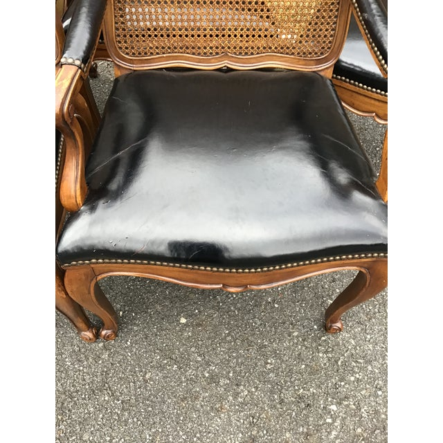 Bodart Furniture Bodart French Louis XIV Caned Leather Dining Chairs -Set of 6 For Sale - Image 4 of 13