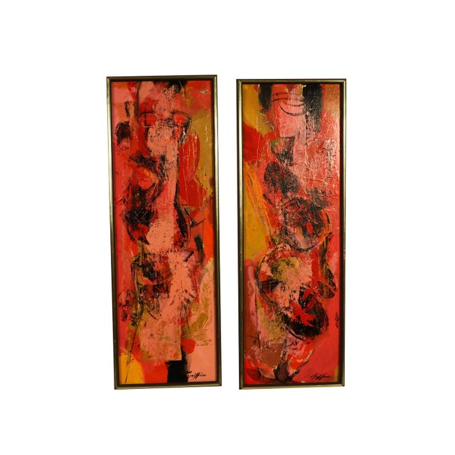 "Mid Century Abstract Expressionist Oil paintings signed ""Griffin"" - a Pair For Sale - Image 9 of 11"