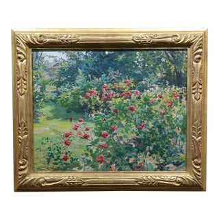 Claire Shuttleworth- Summer Garden W/ Roses in Bloom-Beautiful Oil Painting -C.1910s