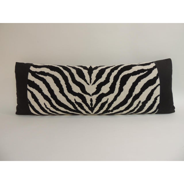 Vintage Black and White Zebra Pattern Decorative Bolster Pillow For Sale - Image 4 of 4