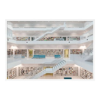 Stuttgart Library XI by Richard Silver in White Framed Paper, Medium Art Print For Sale