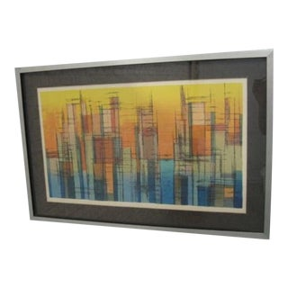 Abstract Cubist Art City Signed Print For Sale