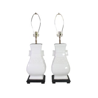 1960's White & Black Ceramic Chinoiserie Lamps - a Pair For Sale