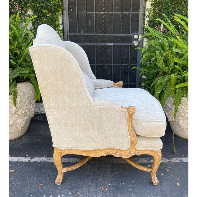 French Antique Early 19c Carved Louis XV Style Wingback Arm Chair For Sale - Image 3 of 6