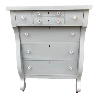 1900s Empire Style Frosted Blue Gray Dresser Chest of Drawers For Sale
