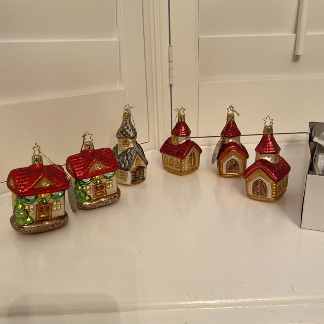 Inge Church and House Collection Glass Ornaments - Set of 6 For Sale - Image 11 of 11