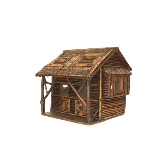 Early 20th C. American Rustic Miniature Log Cabin For Sale