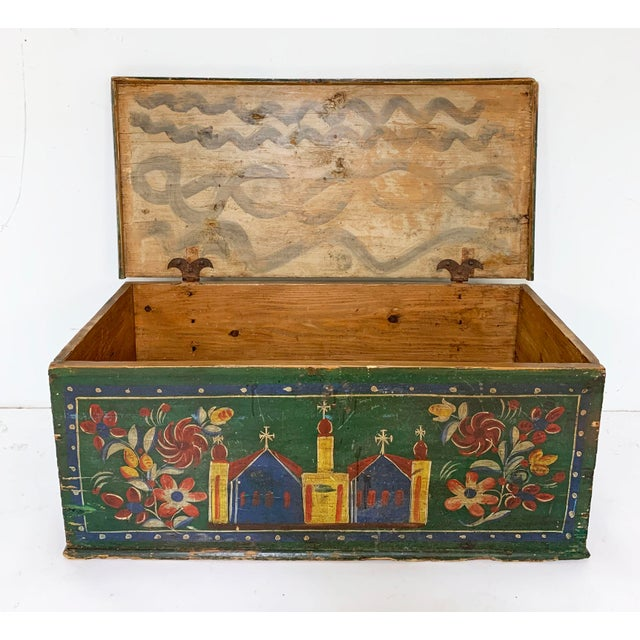 19th C. Eastern European Antique Folk Art Painted Chest For Sale - Image 13 of 13
