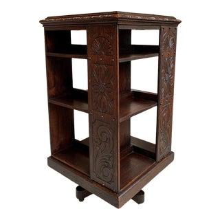 Antique English Carved Oak Revolving Rolling Bookshelf For Sale