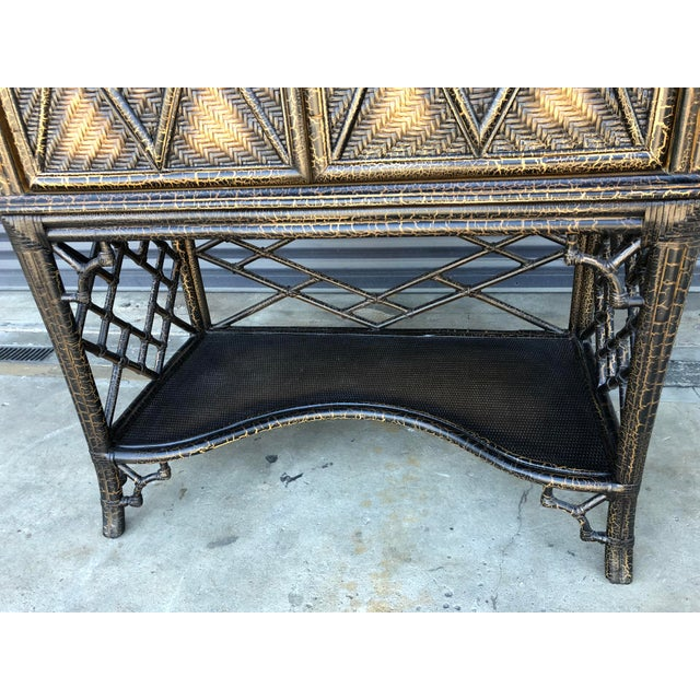 Chinoiserie Rattan Pagoda Style Tv Cabinet Armoire For Sale - Image 5 of 13