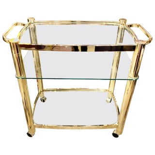 1970s Vintage Mid-Century Modern Brass and Glass Bar Cart For Sale