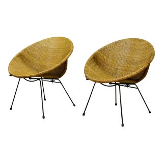 Stylish Pair of Mid-Century Dutch Design Circle Shaped Wicker Cane Cocktail Side Chairs after Dirk van Sliedregt for Rohé, 1950's For Sale