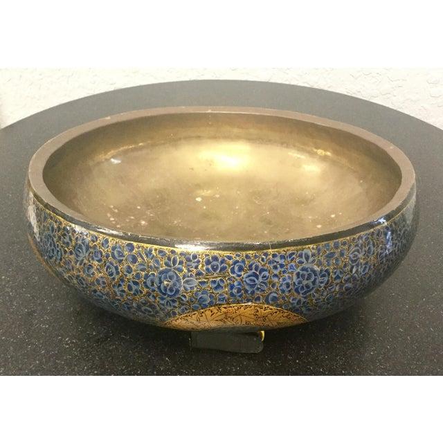 Antique Indian Kashmir Lacquer Paper Mache Bowl For Sale - Image 12 of 12