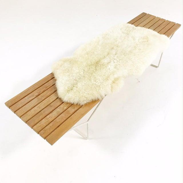 Mid-Century Modern Harry Bertoia for Knoll Slat Bench With Brazilian Sheepskin For Sale - Image 3 of 8