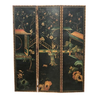 Three Panel Oriental Leather Screen For Sale