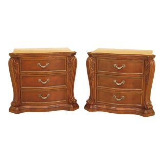Traditional Cherry 3-Drawer Oversized Nightstand Chests - a Pair For Sale