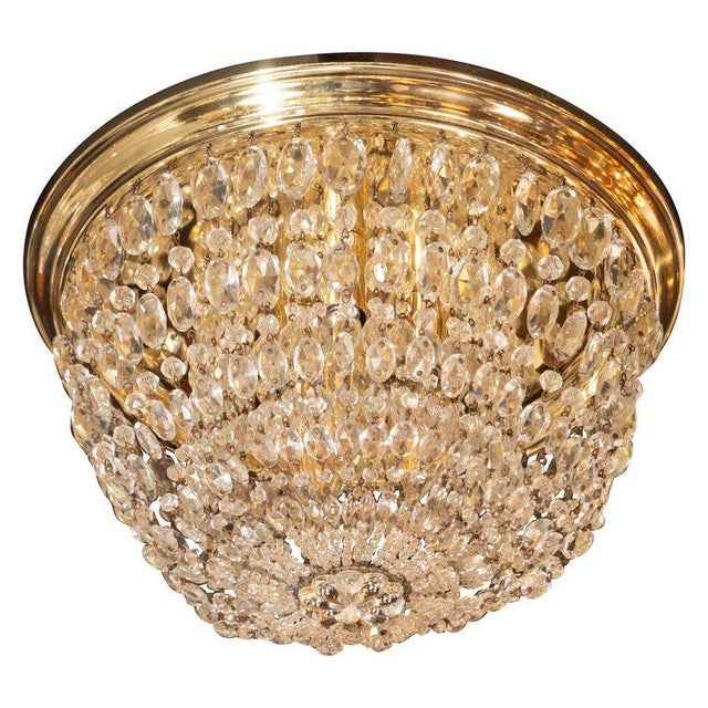 Gold 1940s Hollywood Domed Two-Tier Cut Crystal Flush Mount With Circular Brass Base For Sale - Image 8 of 8