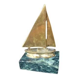Vintage Nautical Brass Sailboat on Marble