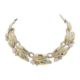 1980s Givenchy Faux-Opal Rhinestone Collar Necklace For Sale