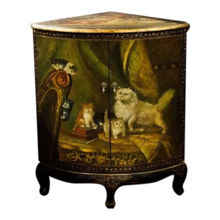 19th Century Painted Corner Cupboard For Sale