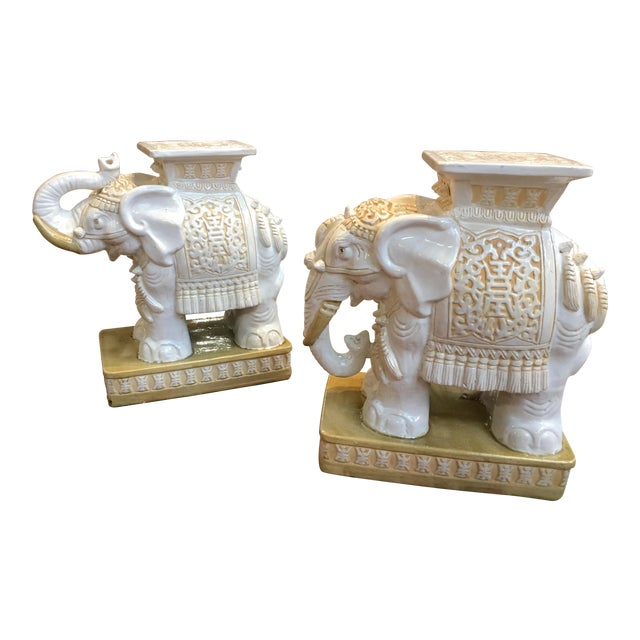 Porcelain Elephant Garden Stools - A Pair - Image 1 of 7