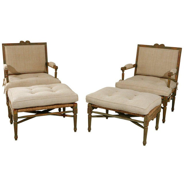 Louis XIV Style Pailles Fauteuils With Footstools - a Pair For Sale - Image 9 of 9