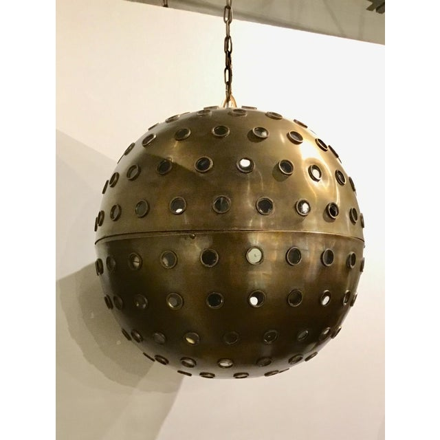 2010s Currey & Co. Modern Brass and Glass Orb Pendant Prototype For Sale - Image 5 of 5