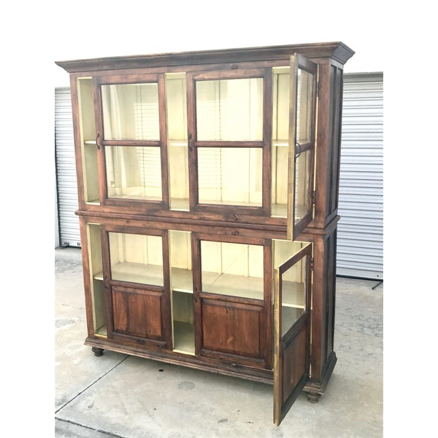 Brown Antiqued Reclaimed Library Wood Vitrine For Sale - Image 8 of 11