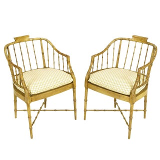 Pair of Baker Glazed Lacquer Bamboo-Form Armchairs For Sale