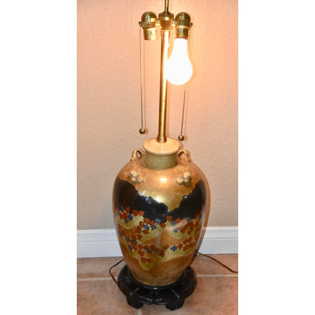 Japanese Marbro Lamp Company Hand Painted Japanese Style Motif Lug Vase Table Lamp For Sale - Image 3 of 11