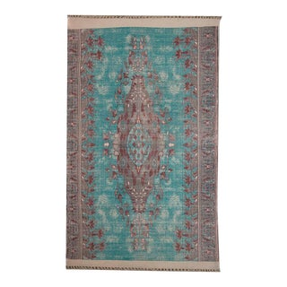 Turquoise & Grey Transitional Cotton 'Dhurrie' Rug - 4′ × 6′ For Sale