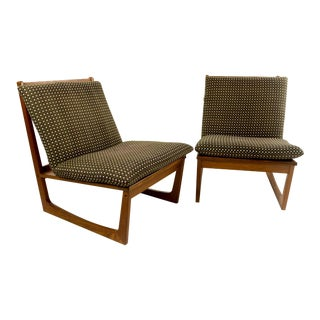 Jacob Kjaer Teak Slipper Chairs - A Pair