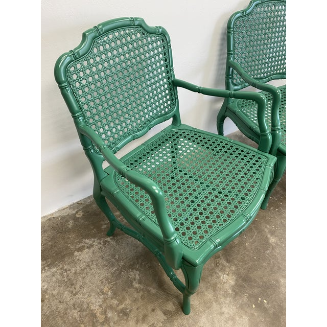 Vintage Green Lacquered Cane Chairs - a Pair For Sale - Image 10 of 13