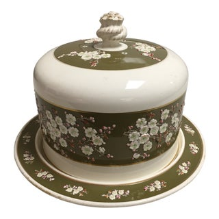 Antique English Cheese Dome and Plate For Sale
