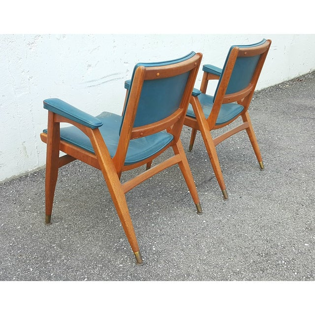 Italian Vintage Gio Ponti Chairs in Teal Leather - Pair For Sale - Image 3 of 8