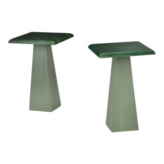 Green Goatskin and Leather Drink Tables Attributed to Aldo Turo 1970s For Sale