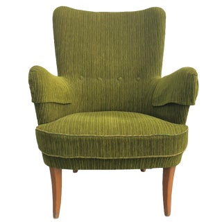 20th Century Mid-Century Swedish Modern Wingback Armchair For Sale